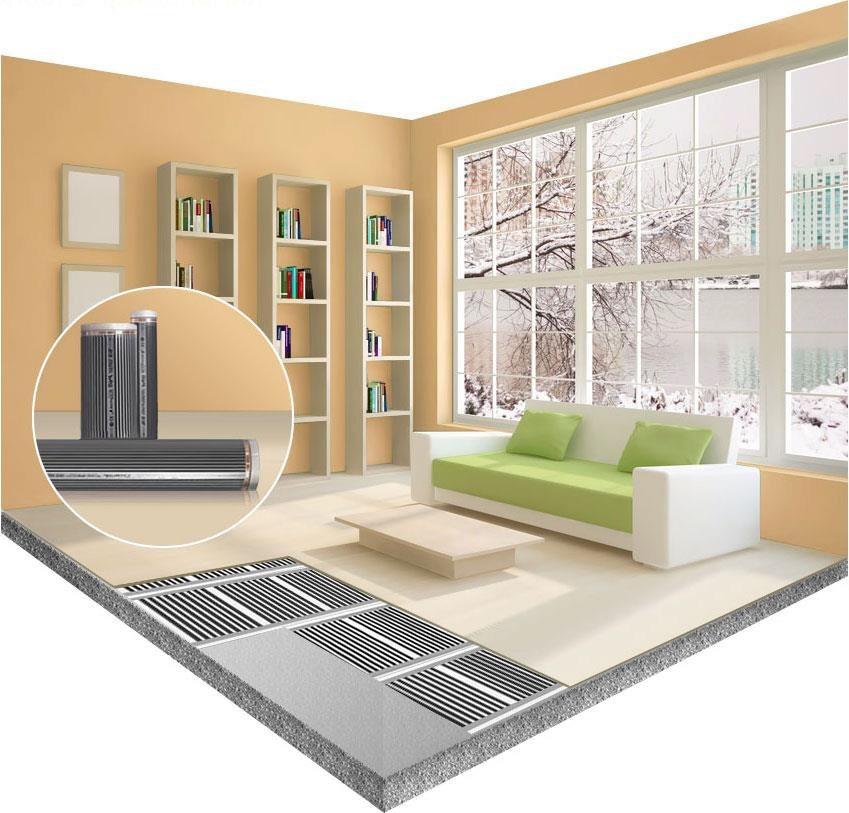 Электрический инфракрасный теплый пол в гостиной