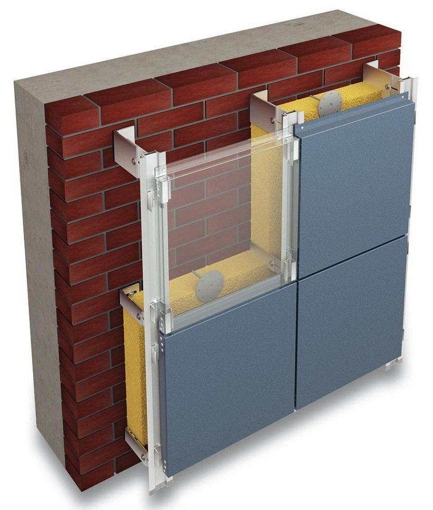 Утепление фасада пеноплексом с металлическим каркасом для монтажа фасадных панелей