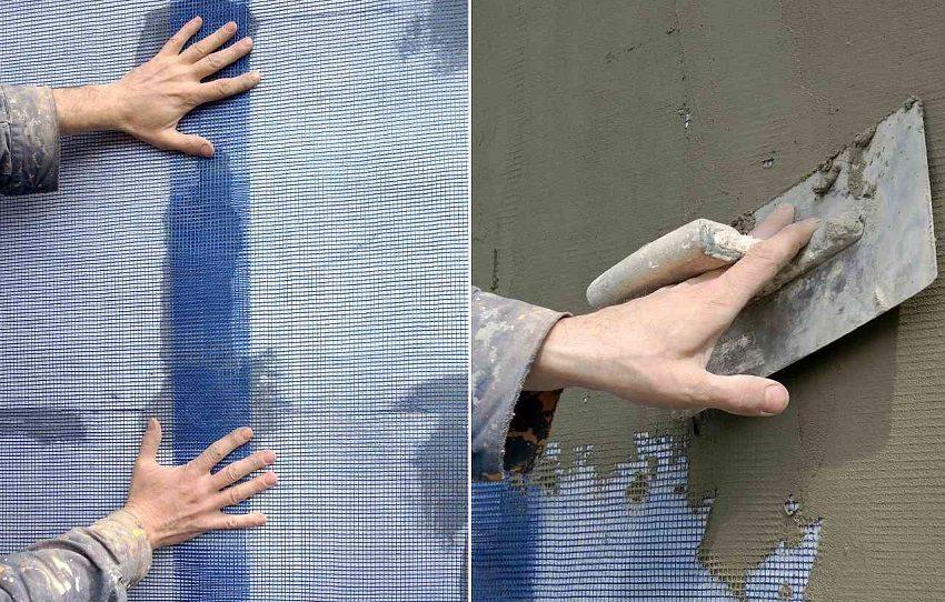 Армирование утеплителя штукатурной сеткой из стекловолокна