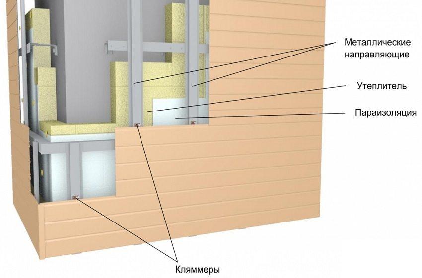 Конструкция вентилируемого фасада с пенополистиролом