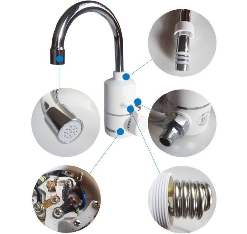 Строение проточного электрического водонагревателя на кран