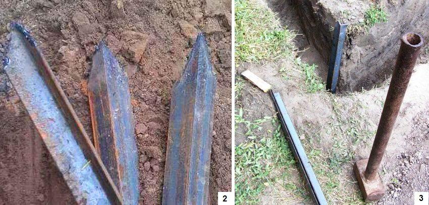 Шаги 2 и 3: подготовка металлических уголков и вкапывание их по углам вырытого треугольника