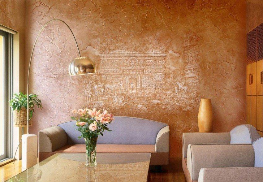 Отделка стены выполнена декоративной штукатурной смесью