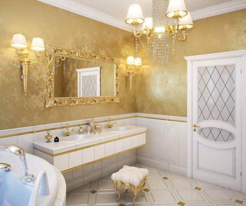 Венецианская штукатурка на стенах в ванной комнате