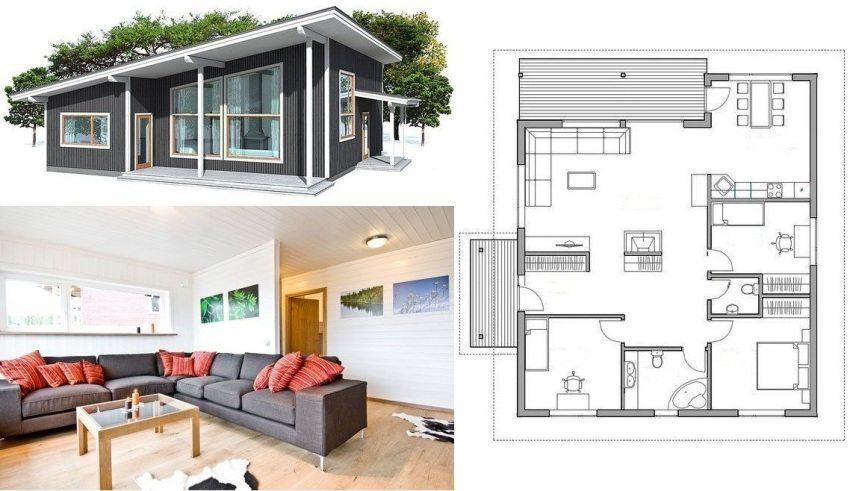 План частного дома с двумя детскими комнатами и спальней