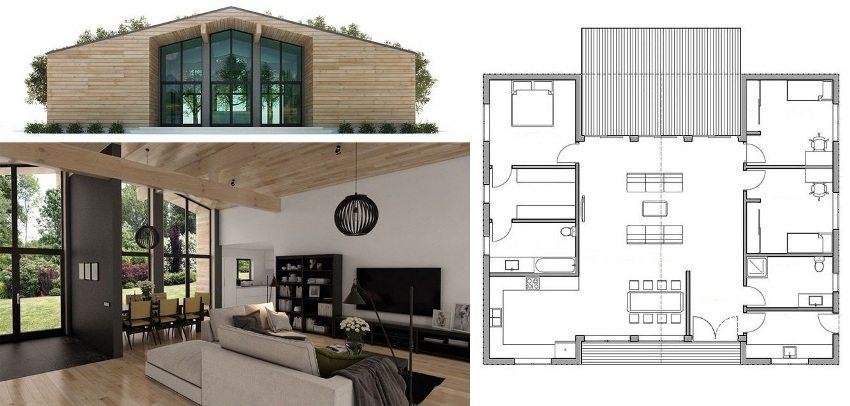 Проект одноэтажного дома с одной спальней и двумя детскими комнатами