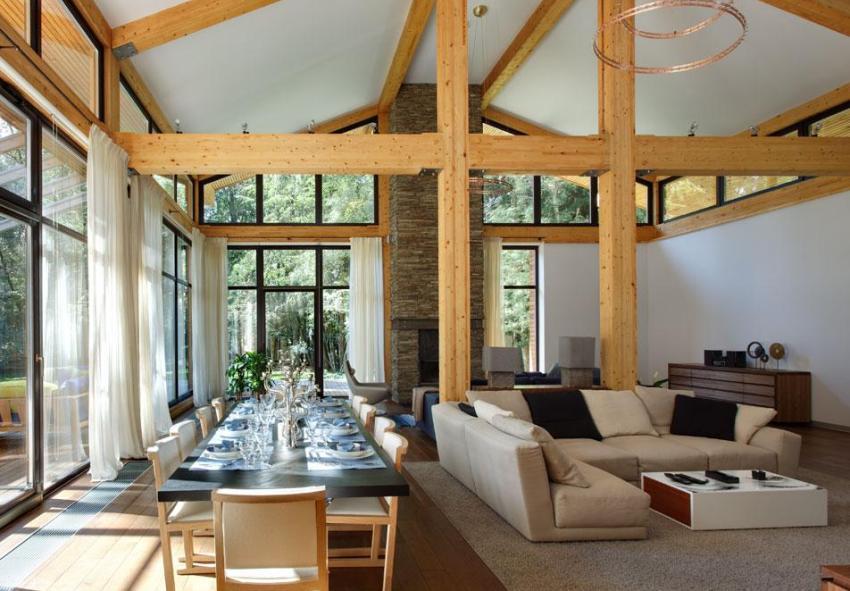 Рациональное разбиение пространства на функциональные зоны - прихожу, гостиную, столовую и каминную группу
