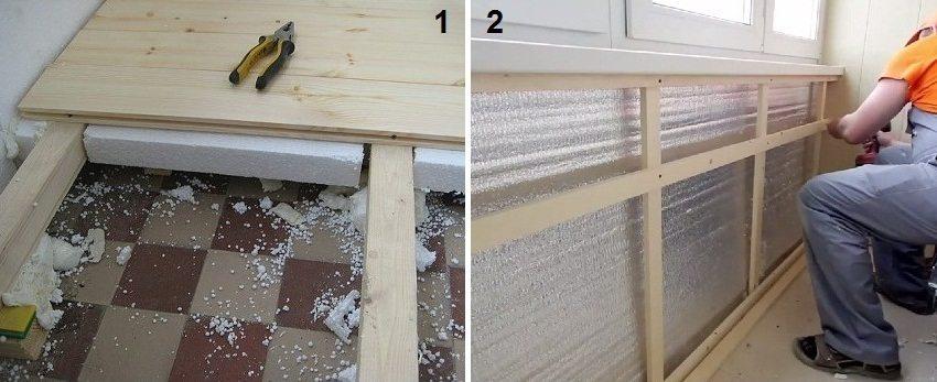 1 - утепление и обустройство пола, 2 - теплоизоляция стен и монтаж обрешетки