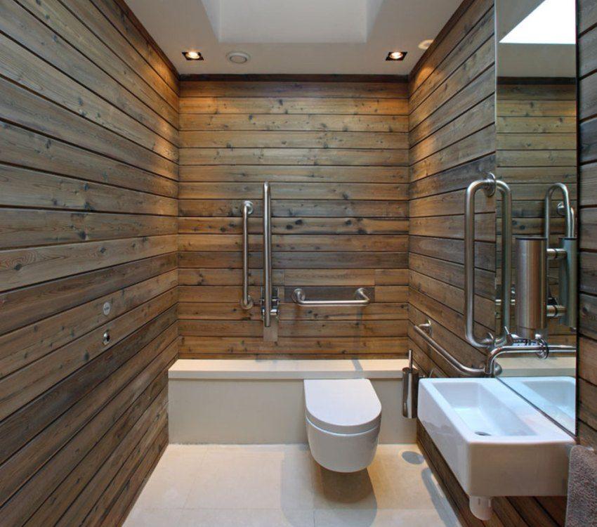 Влагостойкий ламинат на стенах ванной комнаты