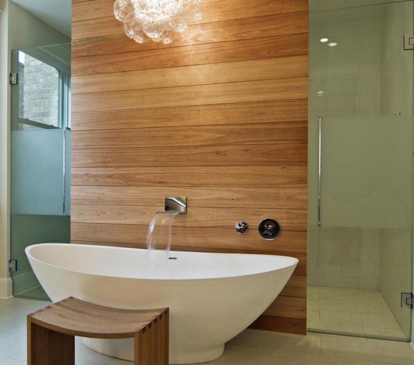 Для отделки ванной используют влагостойкие сорта ламината
