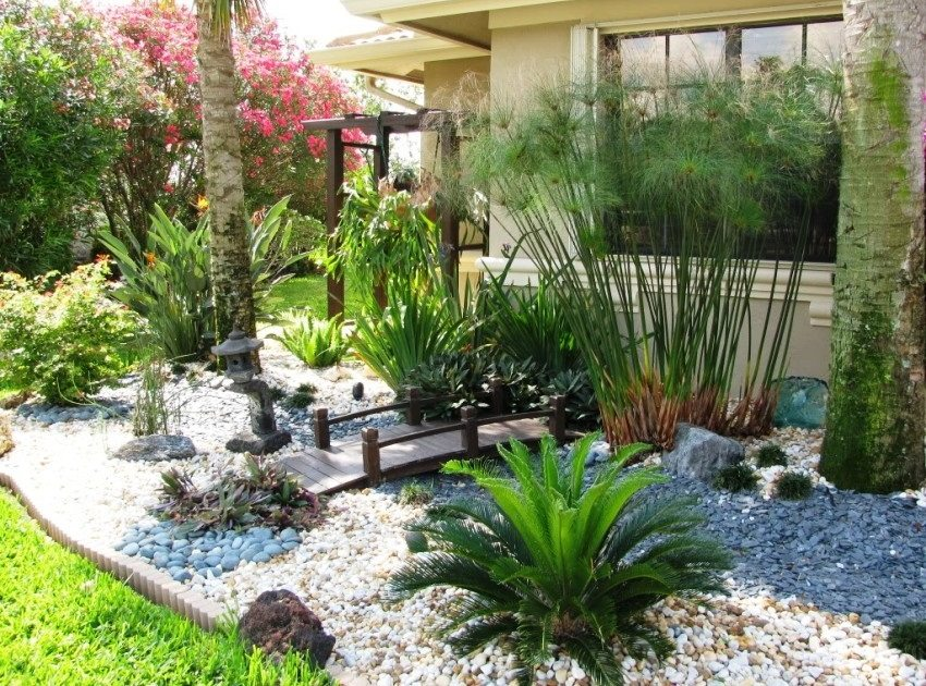 Композиция из растений, камней и деревянного мостика