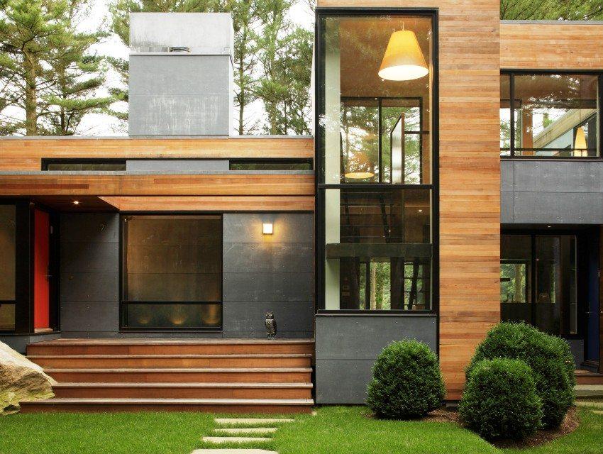 Дерево и металл в отделке фасада