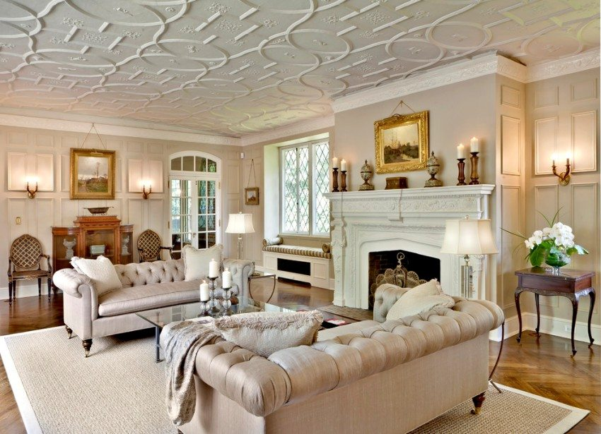 Потолок в гостиной оформлен с использованием пенопластовой плитки