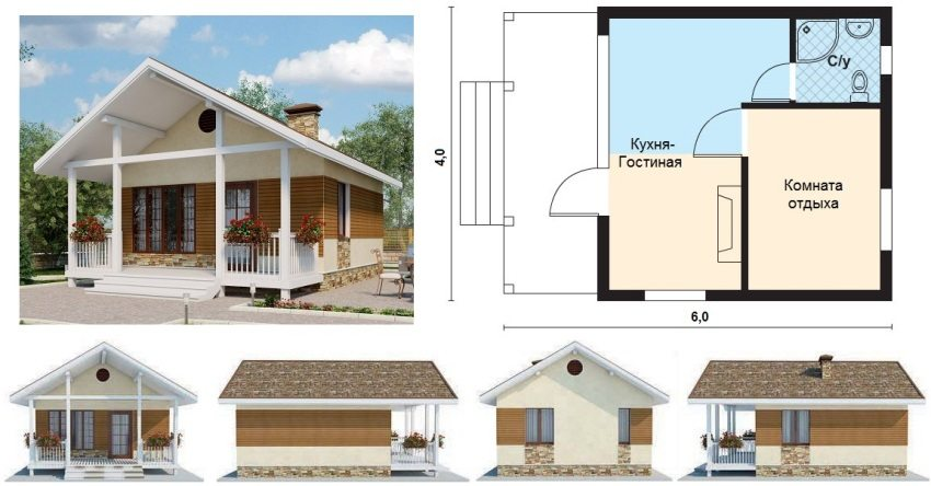 Проект дачного домика размером 6х4 м