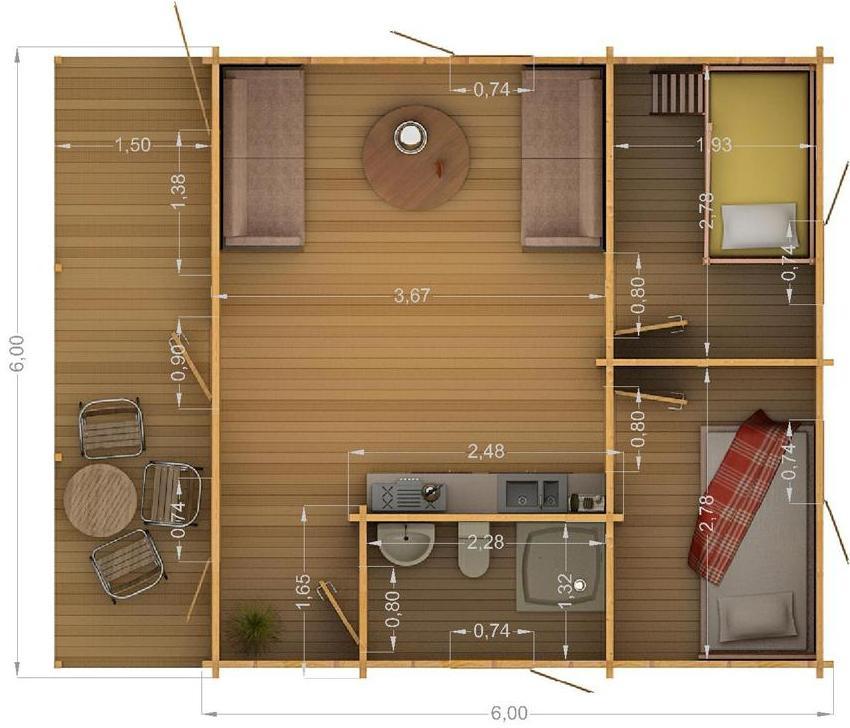 Проект дачного дома 6х6 м
