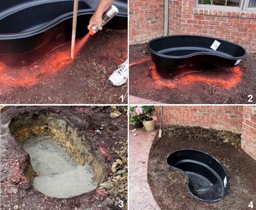 1 и 2 - выбор пластиковой формы и отметка контура будущего водоема, 3 - подготовка ямы, 4 - установка формы в яму