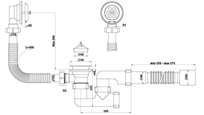 Монтажные размеры сифона для раковины с переливом