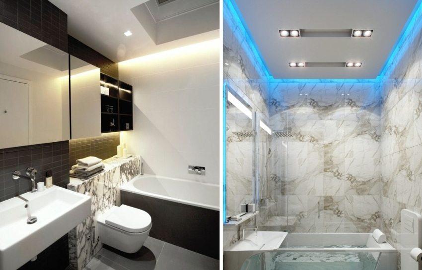 Подсветку с помощью светодиодной ленты можно использовать и в ванных комнатах