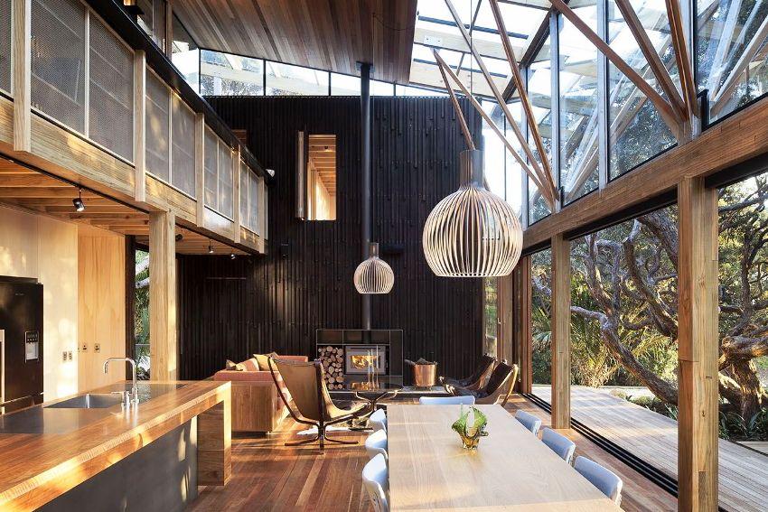 Использование в отделке гостиной разных сортов древесины