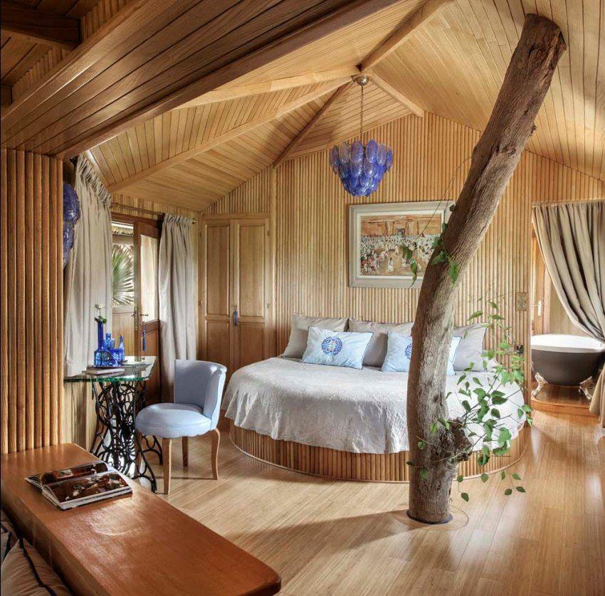 Креативный подход к оформлению спальни в деревянном доме