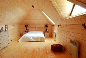 Потолки и стены спальни оформлены с помощью имитации бруса