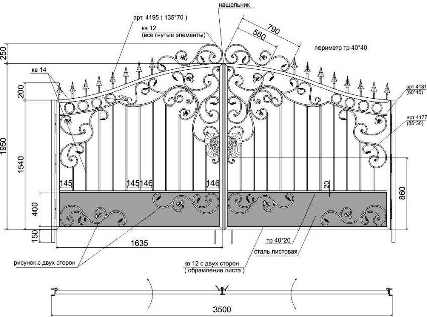 Схема создания кованых ворот своими руками