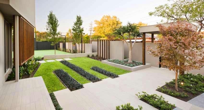 Дизайн двора частного дома. Фото современных дворов и участков