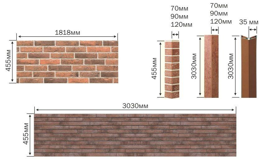 Размеры фиброцементных отделочных плит и декоративных элементов фирмы Nichiha