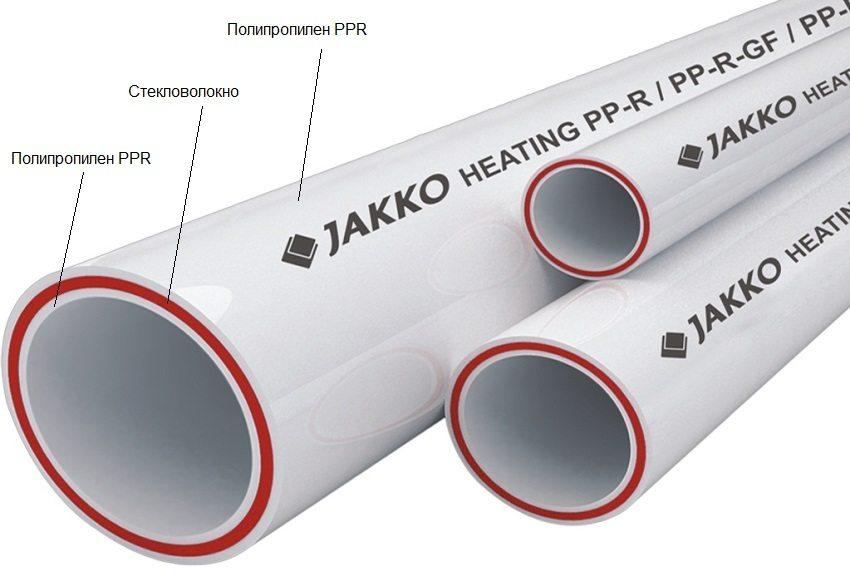 Строение полипропиленовой трубы, армированной стекловолокном