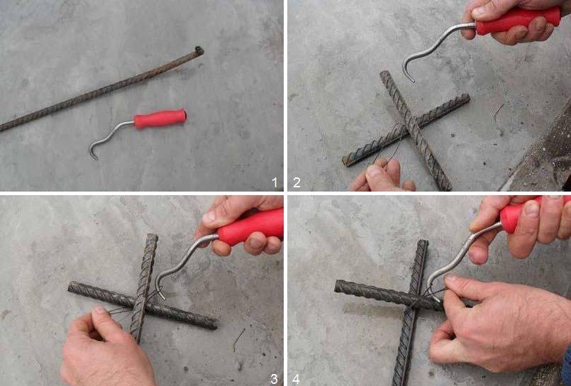 Шаги 1-4 - фиксация арматурного узла петлей из проволоки