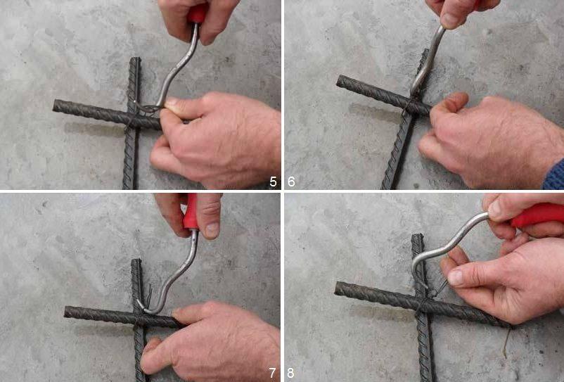 Шаги 5-8 - наматывание проволоки с помощью крючка