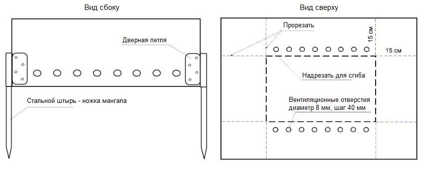 Конструкция разборного мангала