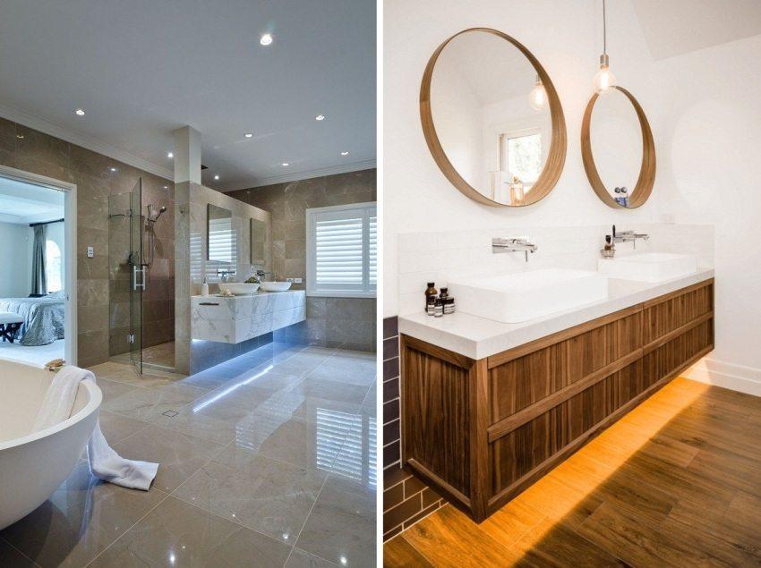Варианты подсветки мебели в ванных комнатах