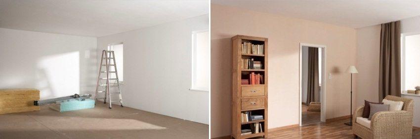 Комната до и после сооружения перегородки