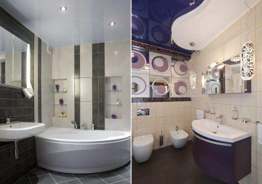 Различные варианты потолков в ванной комнате
