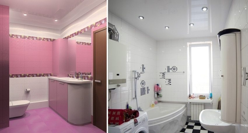 Примеры натяжных потолков в ванной