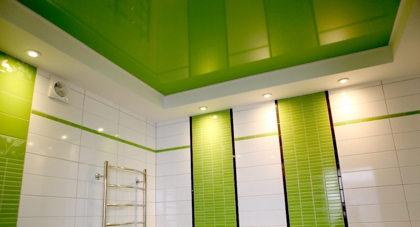 Глянцевый ярко-салатовый потолок