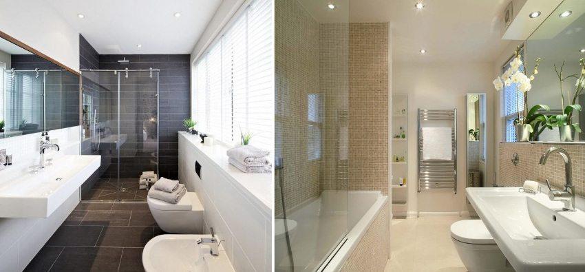 Одноуровневые потолки в ванной