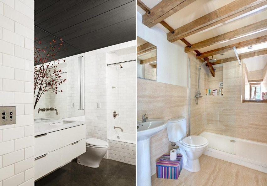 Потолки в ванной с использованием пластика и бруса из дерева