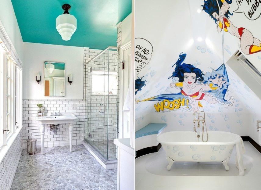 Яркие потолки в ванной с применением влагостойкой краски