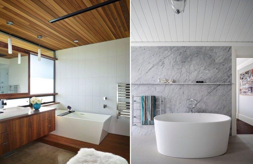 Примеры реечных потолков в ванной