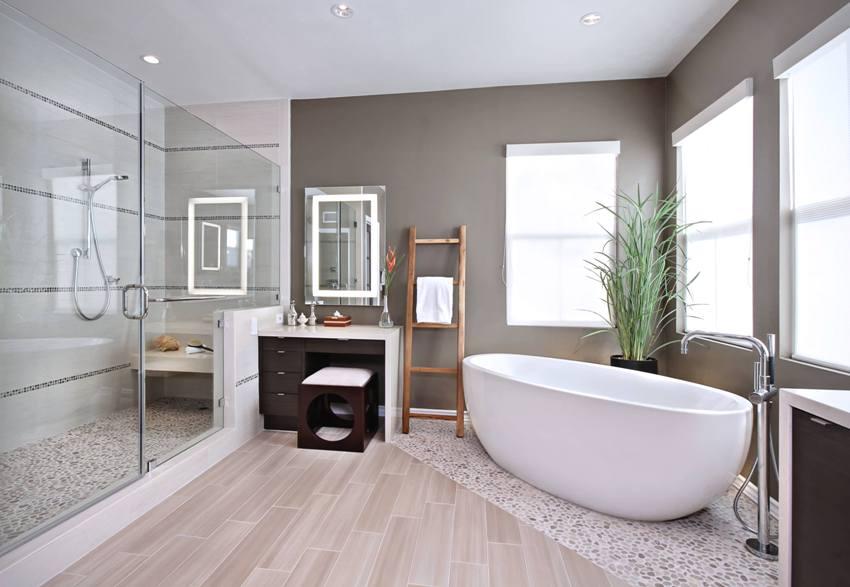 Использование в оформлении ванной различных отделочных материалов