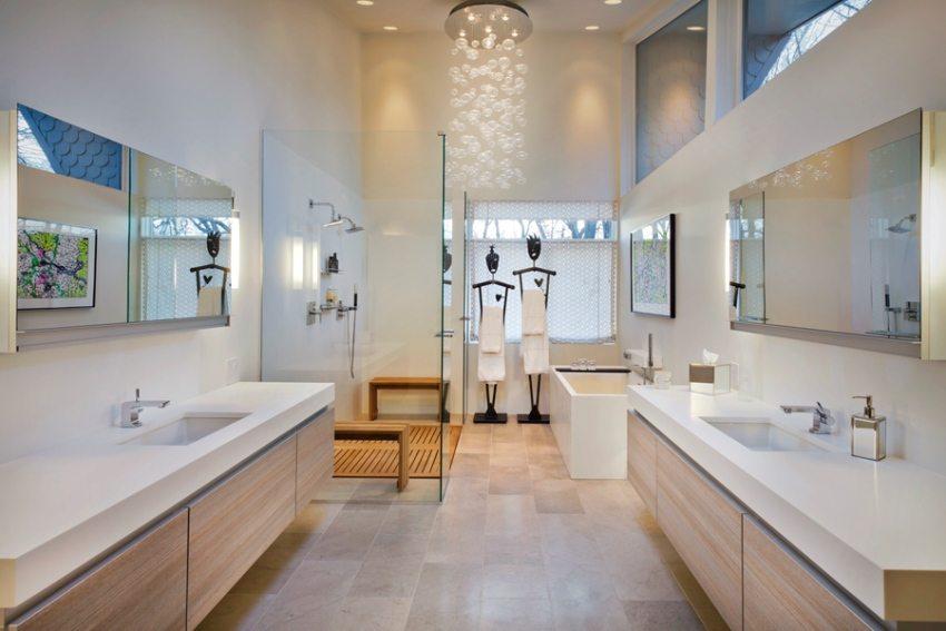 Современная ванная в белых тонах
