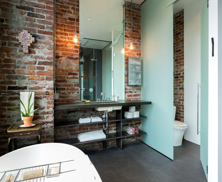 Облицовка стен в ванной декоративным кирпичом
