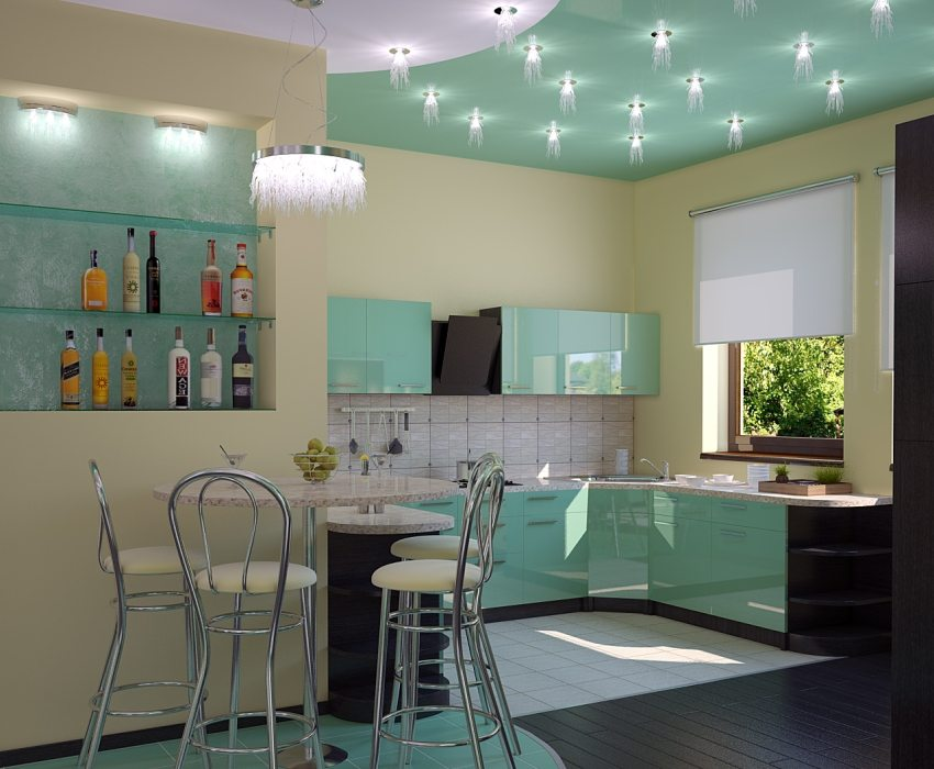 Освещение кухни с помощью точечных светильников
