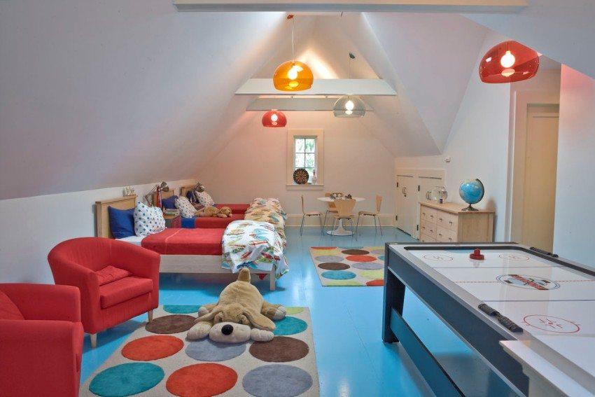Для отделки пола в детской комнате можно использовать виниловую плитку