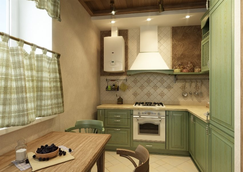 Газовый водонагреватель на дачной кухне