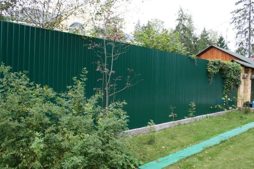 Профнастил широко применяется для строительства заборов для частных домов и дачных участков