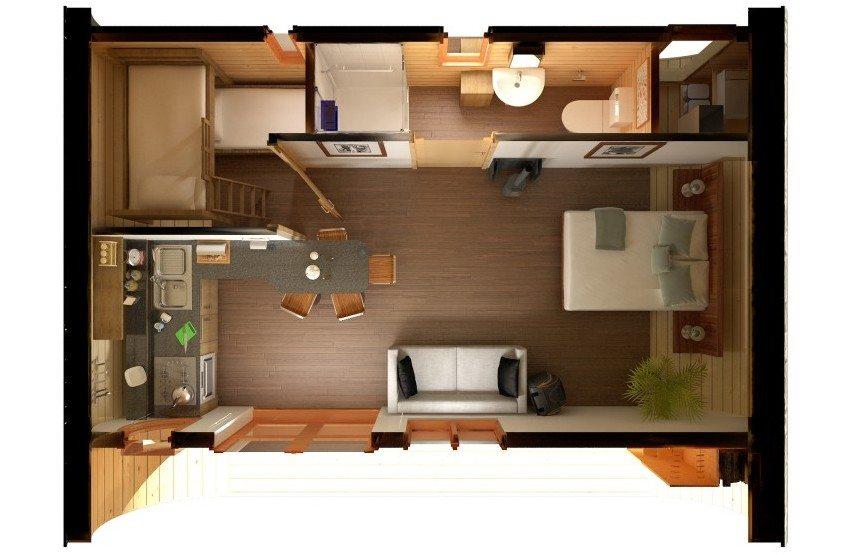 Трехмерный проект планировки дачной бытовки с двумя комнатами, кухней и санузлом