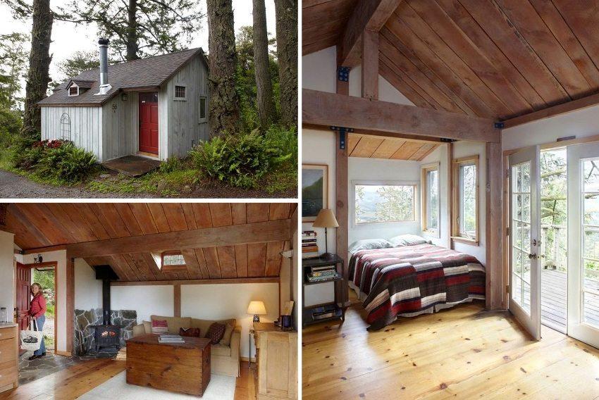 Компактный дачный домик с комфортабельной спальной зоной